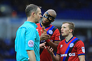 Calvin Andrew and Jamie Allen complain about the second red card during the EFL Sky Bet League 1 match between Peterborough United and Rochdale at London Road, Peterborough, England on 25 February 2017. Photo by Daniel Youngs.