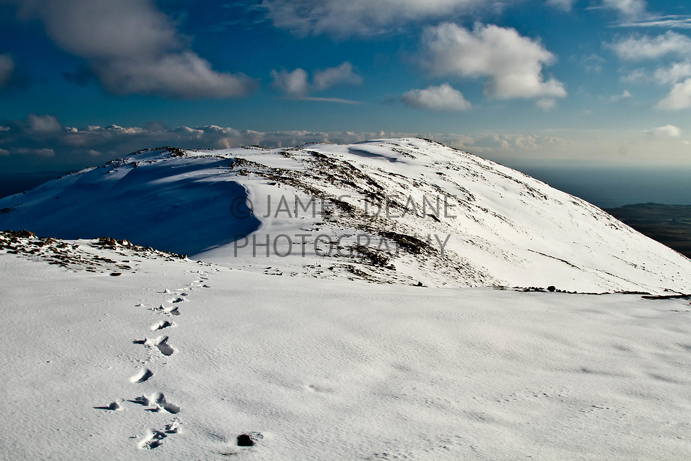 My footseps are visible all along this view of Bheinn Bheigier's Summit Ridge, from a walk in perfect Winter conditions