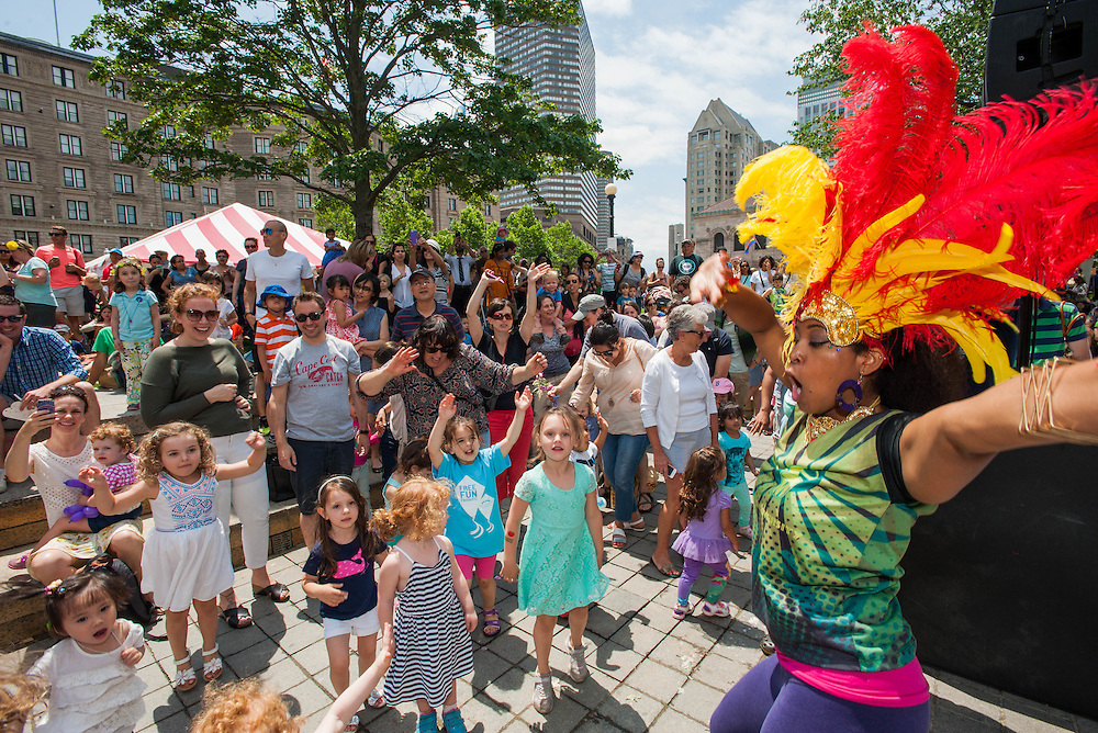 Kids enjoying a lesson in Brazilian dancing at the Hubbub Festival.