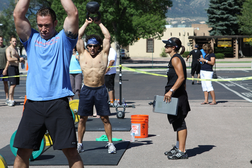 Gabe Romero, Crossfit SoCo image, picture, photo, photography of health, elite, exercise, training, workouts, WODs, kettlebell swing, competition taken at  CrossFit SoCo,Colorado Springs, Colorado, USA.