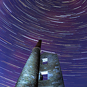 Star trail over Wheal Prosper, Cornwall.<br />