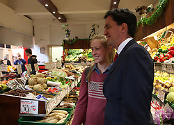 Licensed to London News Pictures. 09/05/2014. Newcastle upon Tyne, UK, Labour Party leader Ed Miliband meets shoppers and stall holders at Newcastle's historic Grainger Market as he campaigns with local candidates ahead of local and European elections. Photo credit: Adrian Don/LNPP