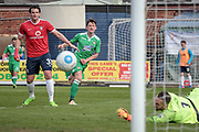 James Jennings (on loan from Cheltenham Town) (Wrexham AFC) watches as his shot beats the York City keeper, but also goes just wide of the far post during the Vanarama National League match between York City and Wrexham FC at Bootham Crescent, York, England on 17 April 2017. Photo by Mark P Doherty.
