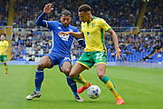 Birmingham City midfielder David Davis (26) holds up Norwich City midfielder Jacob Murphy (22) 2-0 during the EFL Sky Bet Championship match between Birmingham City and Norwich City at St Andrews, Birmingham, England on 27 August 2016. Photo by Alan Franklin.
