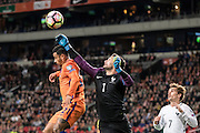 Memphis Depay van Nederland with Keeper Hugo Loris  during the FIFA World Cup Qualifier match between Netherlands and France at the Amsterdam Arena, Amsterdam, Netherlands on 10 October 2016. Photo by Gino Outheusden.