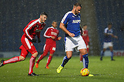 Chesterfield FC defender Ian Evatt on plays it safe during the Sky Bet League 1 match between Chesterfield and Swindon Town at the Proact stadium, Chesterfield, England on 28 November 2015. Photo by Aaron Lupton.