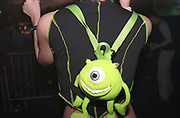 A clubber wearing a Monsters inc. backpack, Passion, Emporium, Milton Keynes, UK, 2002