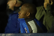 AFC Wimbledon midfielder Jimmy Abdou (8) watching thevgame during the EFL Sky Bet League 1 match between AFC Wimbledon and Gillingham at the Cherry Red Records Stadium, Kingston, England on 12 September 2017. Photo by Matthew Redman.