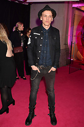 JAMIE CAMPBELL BOWER at The Naked Heart Foundation's Fabulous Fund Fair hosted by Natalia Vodianova and Karlie Kloss at Old Billingsgate Market, 1 Old Billingsgate Walk, London on 20th February 2016.
