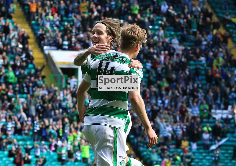 Celtic's Stuart Armstrong celebrates with Celtic's Stefan Johansen after scoring his second goal of  the Glasgow Celtic FC v Inverness Caledonian Thistle FC Scottish Premiership 15th August 2015 ©Edward Linton | SportPix.org.uk