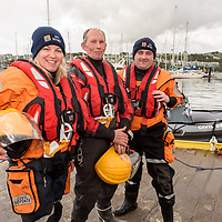 Ruth Bruton, helm Michael Scanlon and JJ Sheridan from Cork South Civil Defence were on the water looking after safety at the Water Carnival on Bank Holiday  Monday at the Kinsale Regatta.<br /> Picture. John Allen