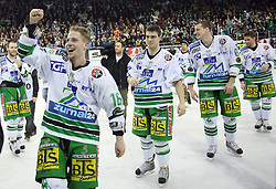 Players of Olimpija (Ales Music, Igor Cvetek, Bostjan Groznik) celebrating the victory after the ice hockey match ZM Olimpija vs Liwest Linz in sixth round of semi-final of Ebel League (Erste Bank Eishockey Liga),  on March  9, 2008 in Arena Tivoli, Ljubljana, Slovenia. Win of ZM Olimpija 2:0, ZM Olimpija qualified in finals. (Photo by Vid Ponikvar / Sportal Images)