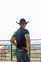 back of a hot black cowboy on a ranch