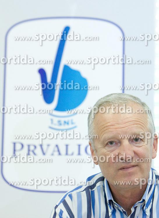 President of Zdruzenje 1. SNL Branko Florjanic and new graphic design at press conference of Prva Liga 1. SNL before new season 2009/2010, on July 15 2009, in Ljubljana, Slovenia. (Photo by Vid Ponikvar / Sportida)
