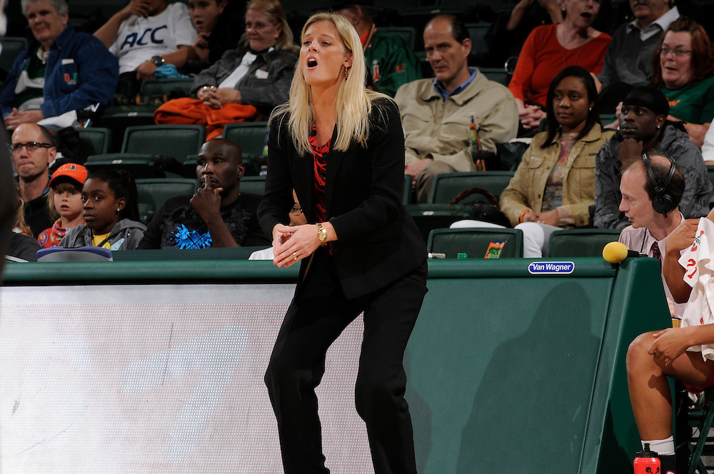 January 5, 2012: Head coach Kellie Harper of North Carolina State in action during the NCAA basketball game between the Miami Hurricanes and the North Carolina State Wolfpack at the BankUnited Center in Coral Gables, FL. The Hurricanes defeated the Wolfpack 78-68.