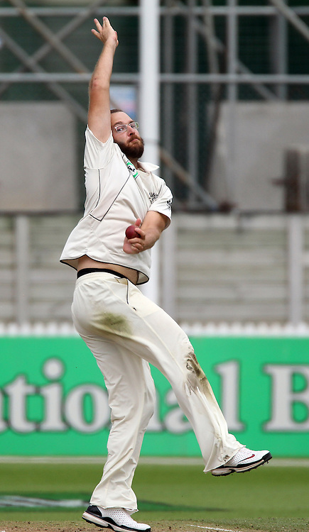 New Zealand captain Daniel Vettori bowling.<br />Day 3. Test match cricket. One off test.<br />New Zealand Black Caps versus Bangladesh.<br />Seddon Park, Hamilton, New Zealand.<br />Tuesday 17 February 2010.<br />Photo: Andrew Cornaga/PHOTOSPORT