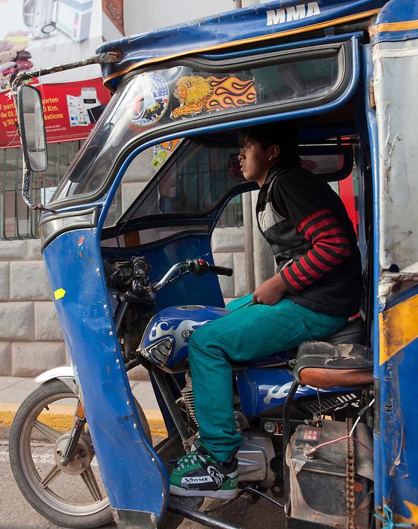 Mototaxi in Pisac, Urubamba region, Peru.