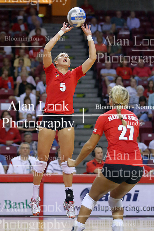 28 AUG 2009: Katie Seyller readies as Jessica Pratapas sets the ball. The Redbirds of Illinois State defeated the Runnin' Bulldogs of Gardner-Webb in 3 sets during play in the Redbird Classic on Doug Collins Court inside Redbird Arena in Normal Illinois