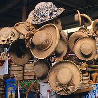 Oceania, South Pacific, French Polynesia, Tahiti. Straw Sun Hats.