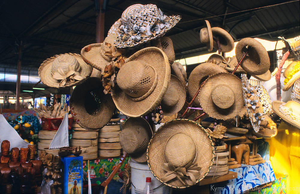 Oceania, South Pacific, French Polynesia, Tahiti. Straw Sun Hats.