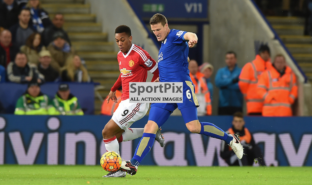Robert Huth and Anthony Martial contest a loose ball (c) Simon Kimber | SportPix.org.uk