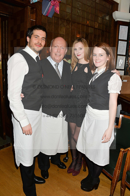 Left to right, ROBERT JAMES-COLLIER, JULIAN FELLOWES, LAURA CARMICHAEL and SOPHIE McSHERA at One Night Only at The Ivy in aid of Acting For Others supported by Tanqueray No.TEN Gin at The Ivy, 1-5 West Street, London on 1st December 2013.