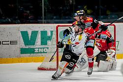 08.01.2017, Ice Rink, Znojmo, CZE, EBEL, HC Orli Znojmo vs Dornbirner Eishockey Club, 41. Runde, im Bild v.l. Kevin Macierzynski (Dornbirner) Patrik Kaderavek (HC Orli Znojmo) Patrik Nechvatal (HC Orli Znojmo) // during the Erste Bank Icehockey League 41th round match between HC Orli Znojmo and Dornbirner Eishockey Club at the Ice Rink in Znojmo, Czech Republic on 2017/01/08. EXPA Pictures © 2017, PhotoCredit: EXPA/ Rostislav Pfeffer