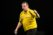 Dave Chisnall celebrates winning a leg during the Premier League Darts  at the Motorpoint Arena, Cardiff, Wales on 31 March 2016. Photo by Shane Healey.