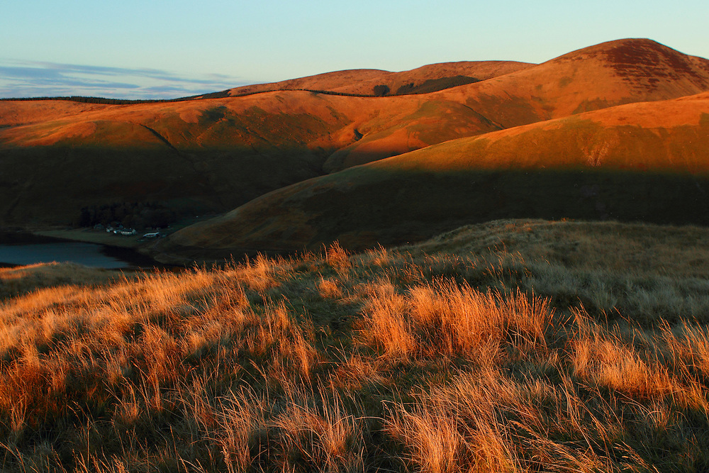 The hills surrounding Fruid Reservoir in Tweeddale, Scottish Borders on a late autumnal evening.
