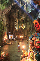 A statue lining the entrance to the Huyen Khong Cave on Thuy Son Mountain, Da Nang, Vietnam