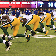 The Green Bay Packers special teams prepare for a kick off during the New York Giants Vs Green Bay Packers, NFL American Football match at MetLife Stadium, East Rutherford, New Jersey, USA. 17th November 2013. Photo Tim Clayton
