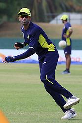 July 27, 2018 - Dambulla, Sri Lanka - South African cricketer Keshav Maharaj during a practice session ahead of the 1st One Day International cricket match against Sri Lanka at Rangiri Dambulla International Stadium, Dambulla, Sri Lanka on Saturday 28 July 2018  (Credit Image: © Tharaka Basnayaka/NurPhoto via ZUMA Press)