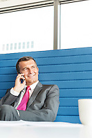 Smiling mature businessman talking on cell phone in office