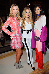 © Licensed to London News Pictures. 19/02/2016. KIMBERLEY GARNER, TALLIA STORM and DOINA CIOBANU attend the FELDER FELDER Autumn/Winter 2016 show. Models, buyers, celebrities and the stylish descend upon London Fashion Week for the Autumn/Winters 2016 clothes collection shows. London, UK. Photo credit: Ray Tang/LNP