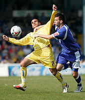 Photo: Mike Greenslade..Cardiff City v Sheffield Wednesday..Coca Cola Championship League..07.04.07..Ninian Park..KO 3pm... Owls Marcus Tudgay tangles with Cardiff's Joe Ledley