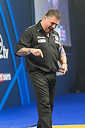 Gary Anderson celebrates hitting a 9 dart finish  during the World Darts Championship Semi Finals at Alexandra Palace, London, United Kingdom on 2 January 2016. Photo by Shane Healey.