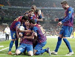 10.12.2011, Santiago Bernabeu Stadion, Madrid, ESP, Primera Division, Real Madrid vs FC Barcelona, 15. Spieltag, im Bild Barcelona's Cesc Fabregas celebrates wth Lionel Messi, Daniel Alves, Andres Iniesta, Eric Abidal and Gerard Pique // during the football match of spanish 'primera divison' league, 15th round, between Real Madrid and FC Barcelona at Santiago Bernabeu stadium, Madrid, Spain on 2011/12/10. EXPA Pictures © 2011, PhotoCredit: EXPA/ Alterphotos/ Alvaro Hernandez..***** ATTENTION - OUT OF ESP and SUI *****