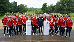 CARDIFF, WALES - Saturday, August 20, 2016: Wales women's team manager Jayne Ludlow, captain Sophie Ingle and the squad pose for a photograph with the UEFA Champions League trophy and the UEFA Women's Champions League trophy at the Vale Resport. The UEFA Champions League finals take place in Cardiff in May 2017. (Pic by David Rawcliffe/Propaganda)