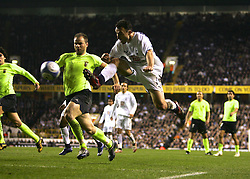 London, England - Wednesday, March 14, 2007: Tottenham Hotspur's Malbranque scoring the third Spurs goal against SC Braga during the UEFA Cup match at White Hart Lane. (Pic by Chris Ratcliffe/Propaganda)