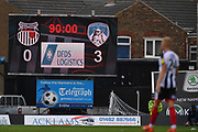 Final score board  during the EFL Sky Bet League 2 match between Grimsby Town FC and Oldham Athletic at Blundell Park, Grimsby, United Kingdom on 15 September 2018.