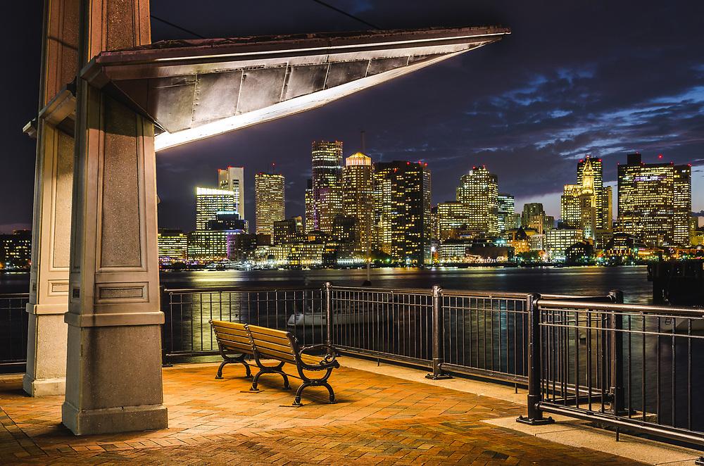 View of Boston skyline from Charlestown Navy Yard. Boston is one of the oldest cities in the US, it was founded by England in 1630.