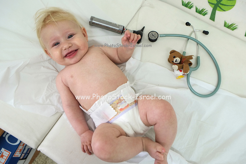 A happy and relaxed baby at a routine visit at the doctor
