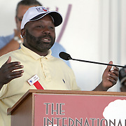 "Inductee Mark ""Too Sharp"" Johnson addresses the crowd during the 23rd Annual induction weekend opening ceremony at the International Boxing Hall of Fame on Thursday, June 7, 2012 in Canastota, NY. (AP Photo/Alex Menendez)"