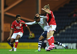 Luke Freeman of Bristol City attempts to tackle Daniel Johnson of Preston North End - Mandatory byline: Dougie Allward/JMP - 07966386802 - 15/09/2015 - FOOTBALL - Deepdale Stadium -Preston,England - Bristol City v Preston North End - Sky Bet Championship