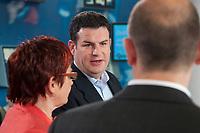"""02 JUN 2010, BERLIN/GERMANY:<br /> Elke Ferner (L), SPD, stellv. Fraktionsvorsitzende und Bundesvorsitzende der Arbeitsgemeinschaft Sozialdemokratischer Frauen, Hubertus Heil, (M), SPD, Stellv. Fraktionsvorsitzender, und Olaf Scholz (R), SPD, Stellv. Fraktionsvorsitzender, SPD Zukunftswerkstatt """"Gut und sicher leben - Onlinekonferenz"""", Willy-Brandt-Haus<br /> IMAGE: 20100602-01-053"""