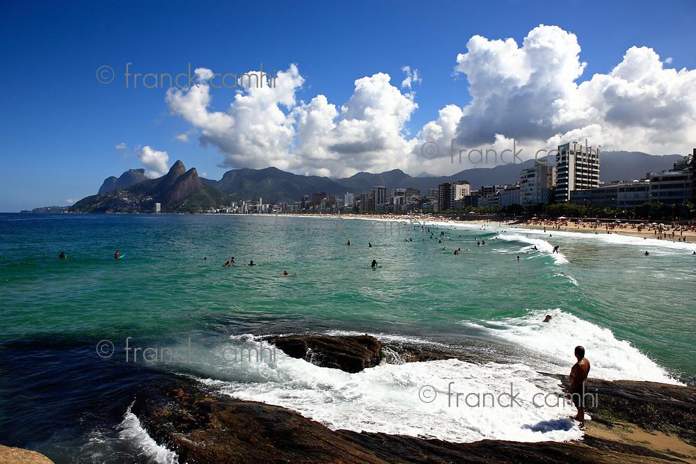 beautiful ipanema Leblon beach in rio de janeiro brazil