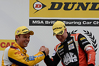 #3 Tom Chilton Team Shredded Wheat Racing with Gallagher Ford Focus RS and #33 Adam Morgan Ciceley Motorsport Mercedes-Benz A-Class during BTCC Race 1 Podium as part of the Dunlop MSA British Touring Car Championship - Rockingham 2018 at Rockingham, Corby, Northamptonshire, United Kingdom. August 12 2018. World Copyright Peter Taylor/PSP. Copy of publication required for printed pictures.