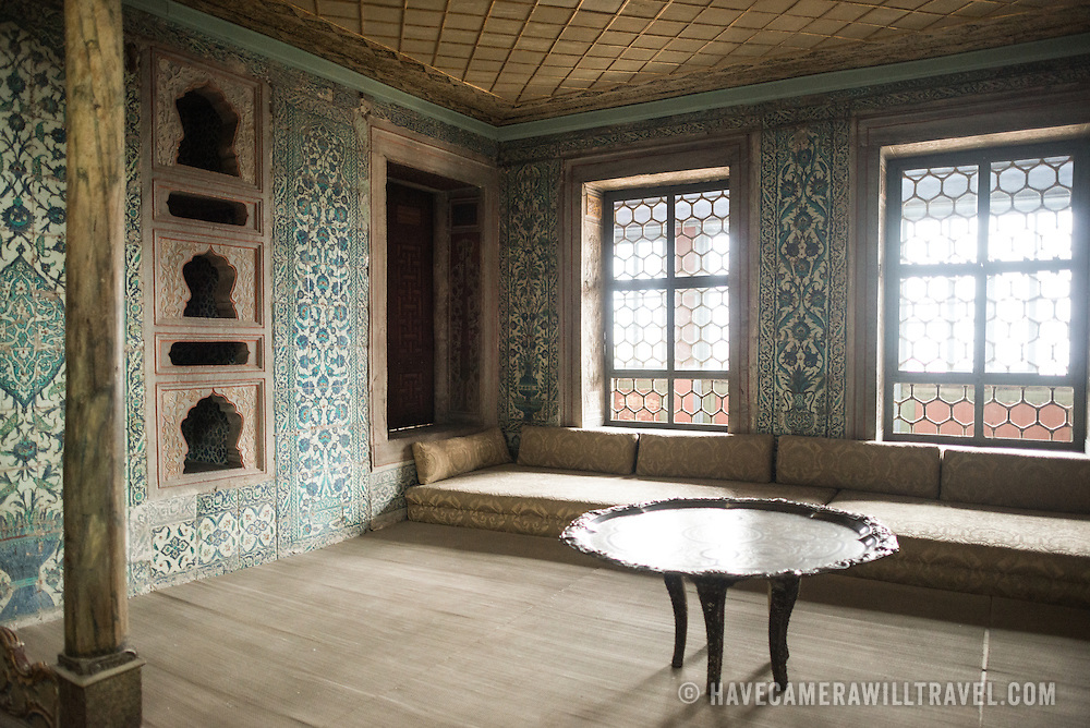 The Apartments of the Queen Mother was first constructed in the late 16th century and was rebuilt after the fire of 1666. The Apartments consists of a bedroom and prayer room. The Queen Mother was charged with running the Harem and thus yielded great power. The Imperial Harem was the inner sanctum of the Topkapi Palace where the Sultan and his family lived. Standing on a peninsular overlooking the Bosphorus Strait and Golden Horn, Topkapi Palace was the primary residence of the Ottoman sultans for approximately 400 years (1465–1856) of their 624-year reign.