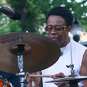 The Brownie Roach Project legendary drummer Louis Hayes performs in front of a large crowd at the 26th annual duPont Clifford Brown Jazz Festival Wednesday, June 18, 2014, at Rodney Square Park in Wilmington, DEL.    <br /> <br /> &ldquo;The Clifford Brown Jazz Festival is a staple of Wilmington&rsquo;s performing arts culture,&rdquo; said Mayor Dennis P. Williams. &ldquo;The City is excited to celebrate the 26th anniversary and I hope the community gets involved and enjoys all of the many activities the festival has to offer.&rdquo;