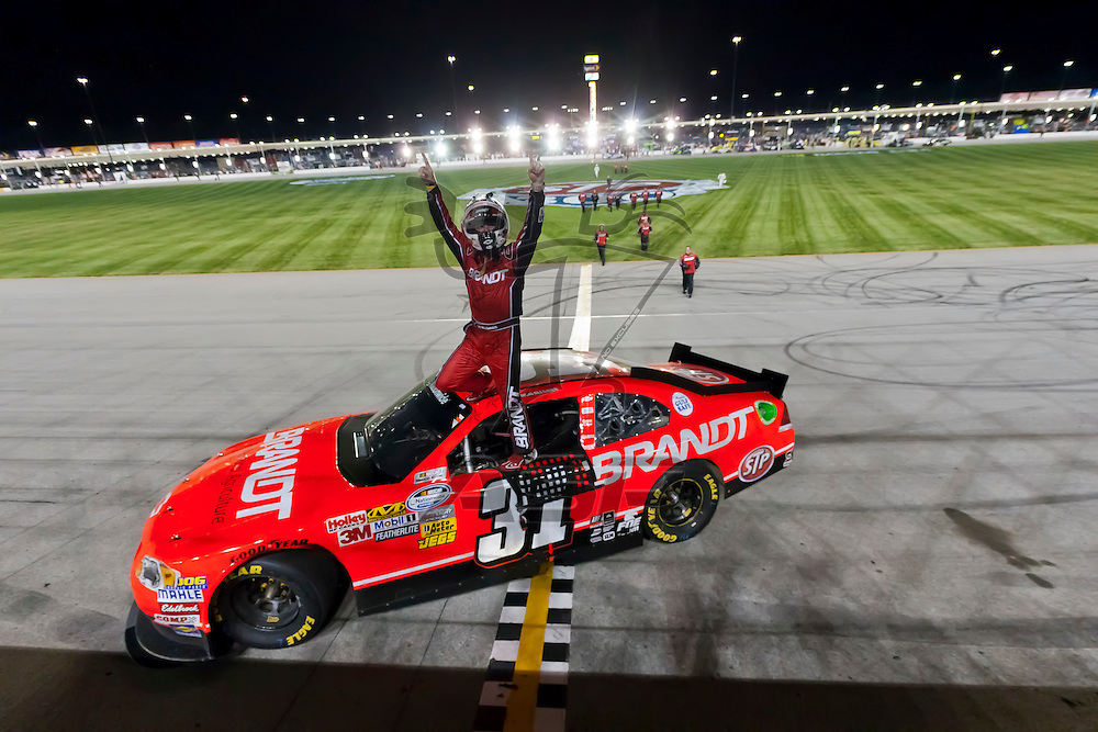 JOLIET, IL - JUNE 04, 2011:  Justin Allgaier (31) plays the fuel mileage game better than the rest of the field to win the STP 300 race at the Chicagoland Speedway in Joliet, IL.